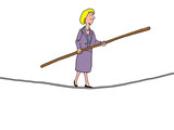 Color business illustration of a businesswoman successfully walking a tightrope.  - 127961852