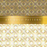 white and gold clover vector seamless pattern in ar deco style