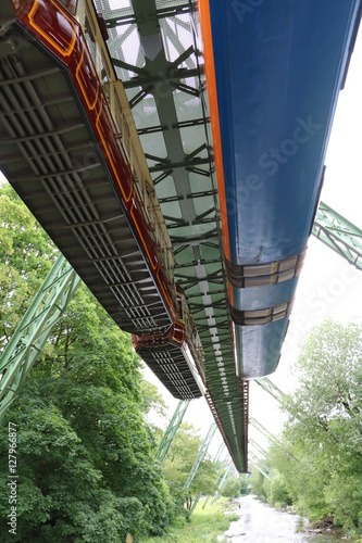 Poster Two Suspension Railways view from below, Wuppertal Germany