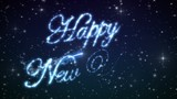 Happy New Year Beautiful Text Appearance Animation in the Night Winter Sky. Text made of Stars. HD 1080. Loop-able.