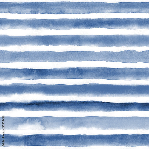 Cotton fabric Watercolor seamless pattern with blue stripes. Repeat straight stripes texture background. Hand drawing pattern.