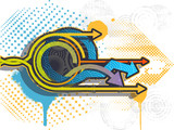 Graffiti arrows background. Graffiti banner. Vector illustration