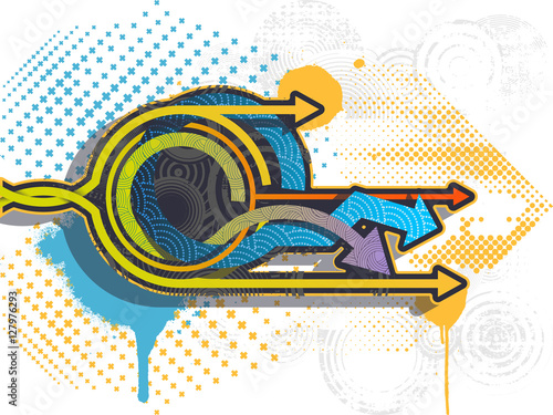 Graffiti arrows background. Graffiti banner. Vector illustration