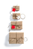 Gift boxes with star shaped paper tag Holidays concep