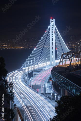New Bay Bridge Night Car Trails Plakát