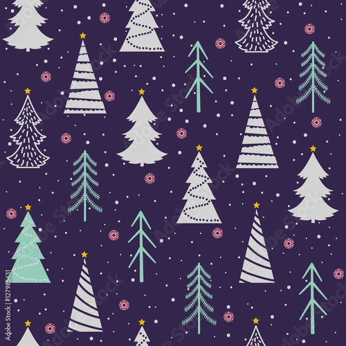 Cotton fabric Seamless Christmas vector pattern with fir-trees, snowflakes, snow, stars