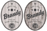 set of vector brandy labels on the background of wooden boards