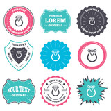 Label and badge templates. Jewelry sign icon. Ring with diamond symbol. Retro style banners, emblems. Vector