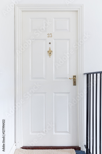 Poster Retro white closed wooden entrance door 23