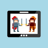 pixel knights characters with sword on screen tablet over blue background. video game interface design. colorful design. vector illustration