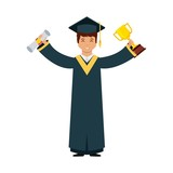 cartoon graduate man holding a gold trophy and certificate. colorful design. vector illustration