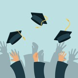 Fototapety Hands of graduates throwing graduations hats. colorful design. vector illustration