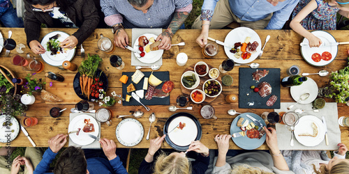 Group Of People Dining Concept - 128001010