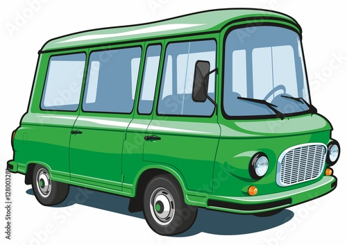 Vector isolated cartoon green van on white background.