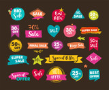 Sale icons, tags, labels and mobile theme. Hand drawn sale colorful vector backgrounds, poster design