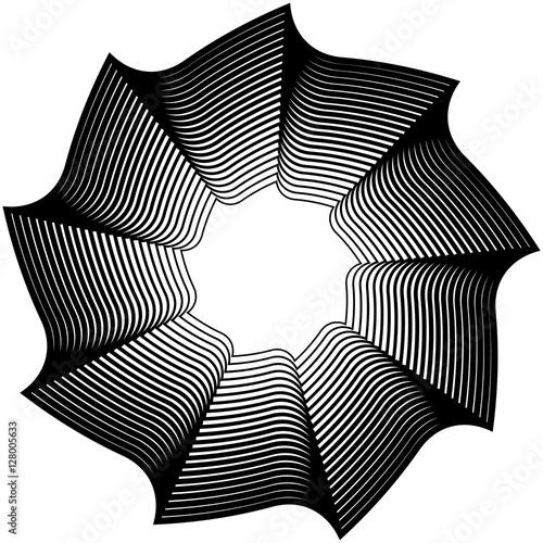 Geometric circular element - Rotating spiral, swirl shape - 128005633