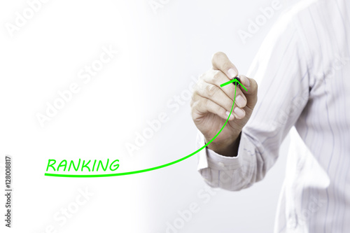 Poster Increase ranking concept. Businessman draw plan to increase rank