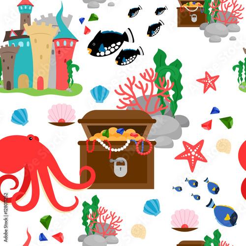 Stoffe zum Nähen Cartoon-Meerestiere und marine Schätze Musterdesign. Vektor-illustration