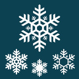 Fototapety white snowflake icons on blue background