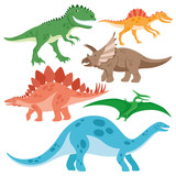 Cute dinosaurs set.