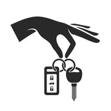 Hand Holding the Car Key Icon. Vector