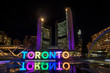 View of Nathan Phillips Square and Toronto Sign  at night, in Toronto, Ontario.