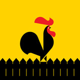 Black rooster on a fence. Modern flat vector illustration