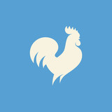 Rooster silhouette. Modern flat vector logo template or icon of