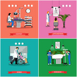 Vector set of banners, posters with people in hospital, clinic