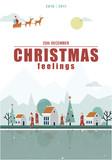 Christmas feelings. Illustration poster of a cute village