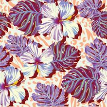 modèle vectoriel sans soudure pour les hommes, des fleurs aloha dans des couleurs douces.