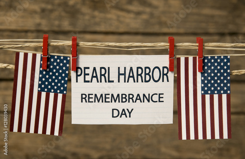 Pearl Harbor Remembrance Day card or background. Poster