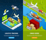 Delivery Isometric Vertical Banners