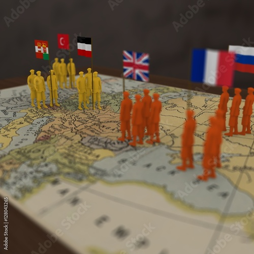 WWI Combatants – 3D rendering of the main alliances in the First Wold War