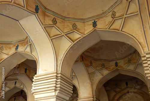 Poster Architectural details of Tomb in Qutb Shahi Tombs complex Historical Monument construction started in 1543 in Hyderabad,India