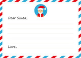 Template envelope New years letter to Santa Claus with icon. Vector illustration. Flat design.