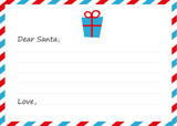 Template envelope New years letter to Santa Claus. Icon gift. Vector illustration. Flat design.