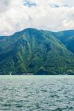 Nature of Lake Lugano and Alps mountains Ticino of Switzerland