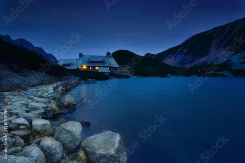 Refuge at night in five lake valley Tatra