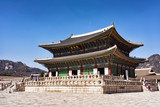 Throne Hall and people at Gyeongbokgung Palace Seoul