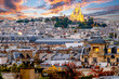 View of the Sacre Coeur Cathedral in Paris, France. Photo at sunset.
