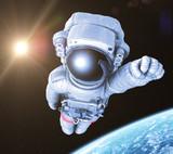 Astronaut in space, 3d render, - 128058676