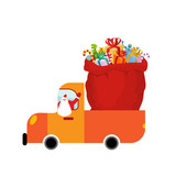 Truck Santa and red sack of gifts. Christmas car isolated. Holid