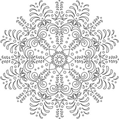 Sketch of stylised snow flakes black and white hand drawn vector illustration