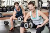 Fit couple lifting dumbbells