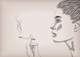 Woman female girl lady person smoke smoking cigarette tobacco