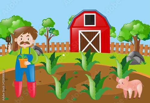 Plexiglas Boerderij Farm scene with farmer planting in field