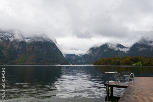 Poster Oceanië View of Hallstatt lake during gloomy and cloudy day from Obertraun