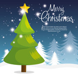 happy merry christmas tree card vector illustration design