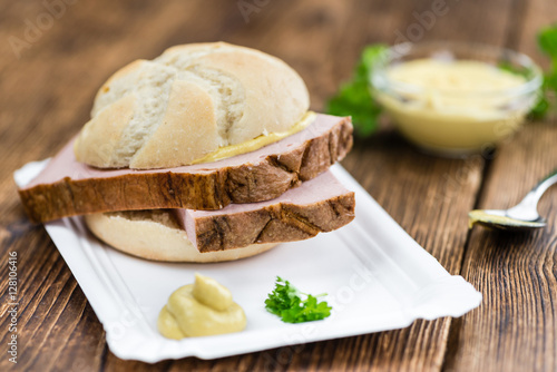 Poster Portion of German Leberkaese (selective focus)